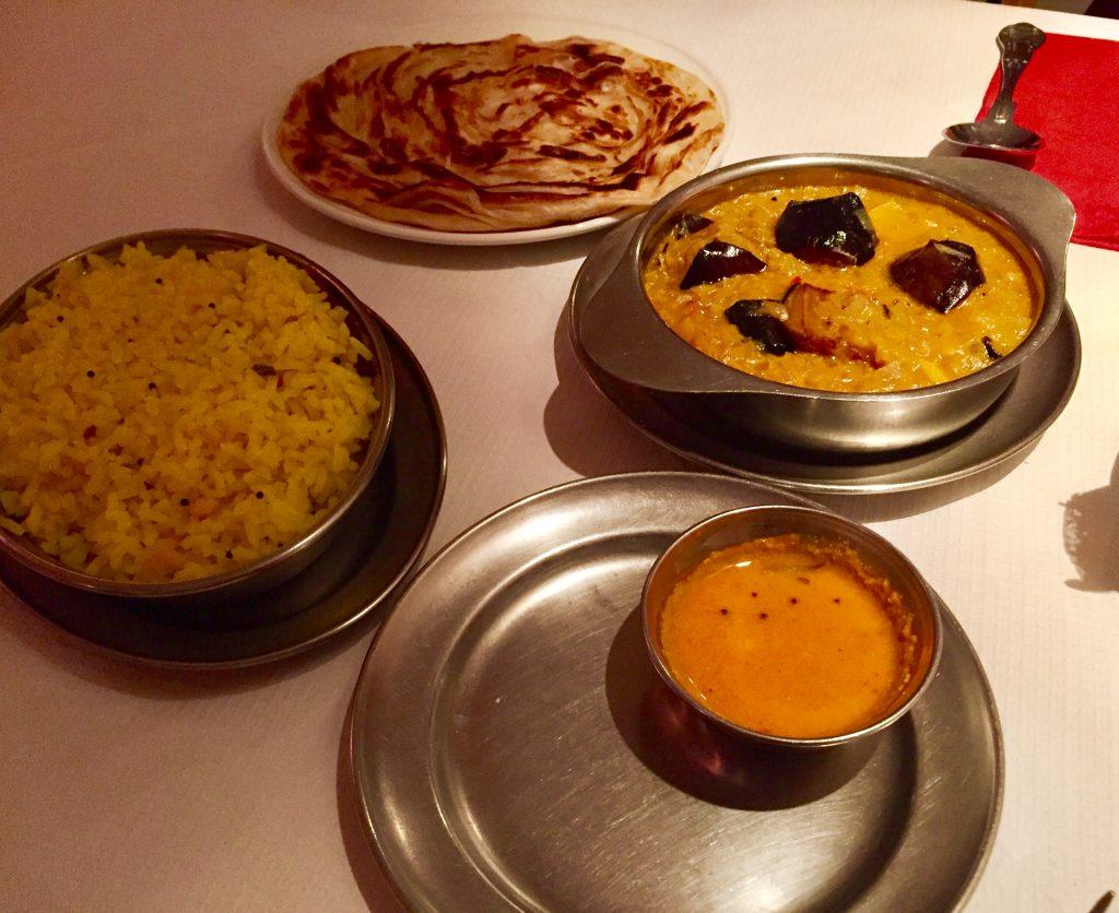 Rasa N16 aubergine curry, lemon rice and paratha